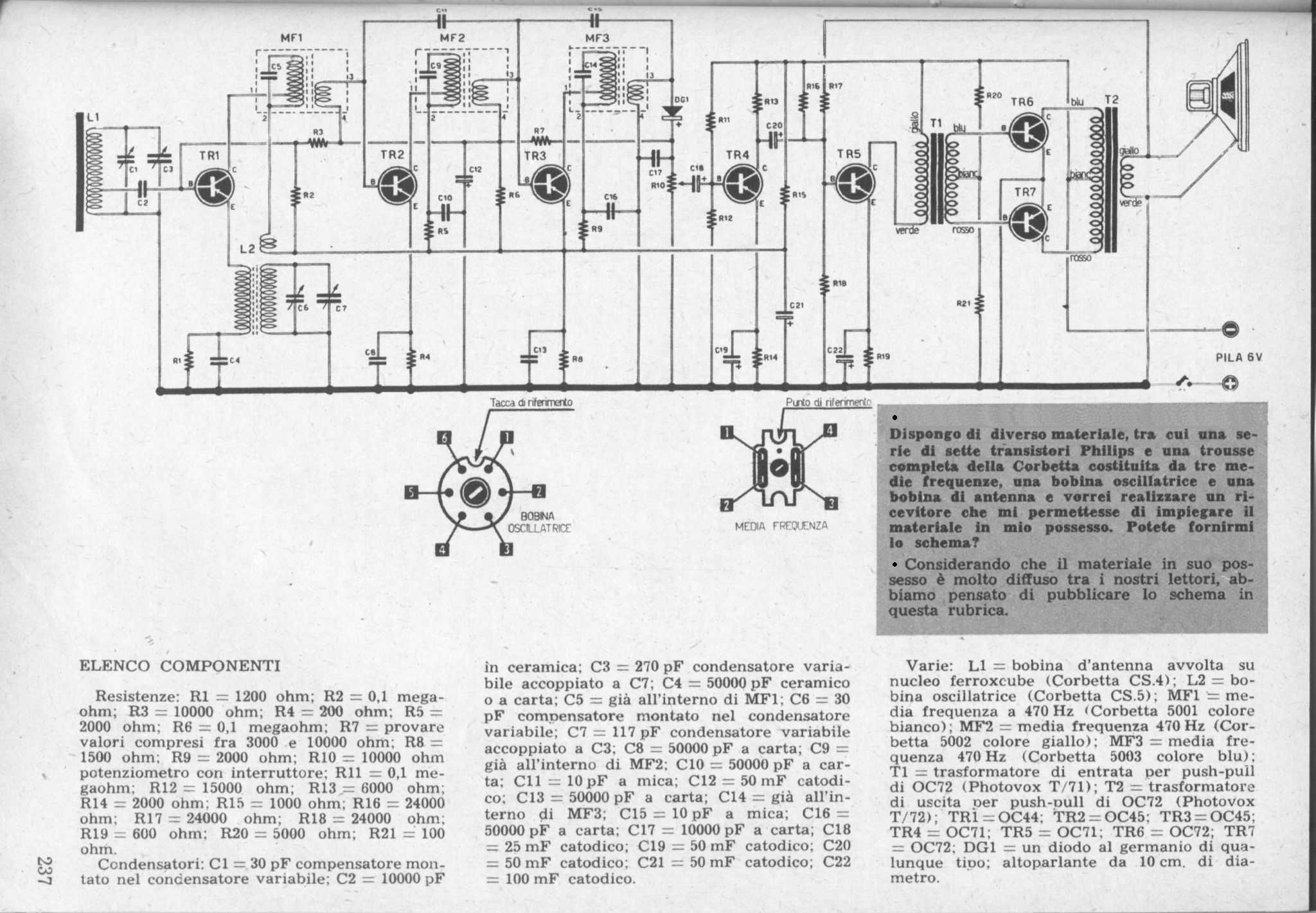 Transistor Diagrams Diagram Circuit Home Grundig Box 59 Click To Visualize The Per Visualizzare Lo Schema Made 1961
