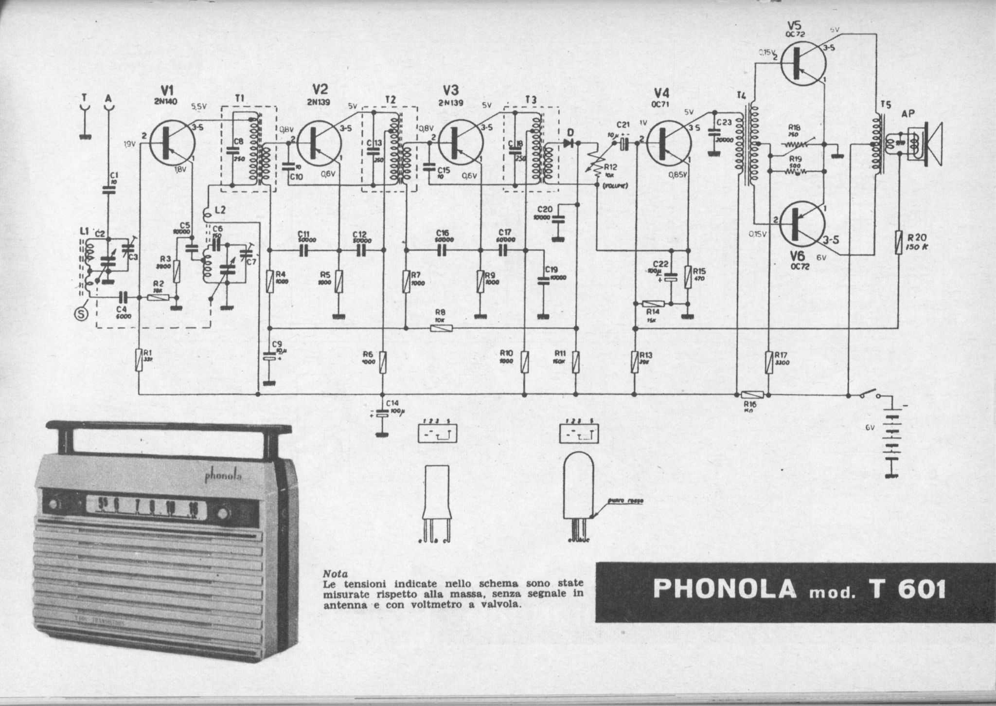 Transistor Diagrams Radio Receiver Circuit Diagram On Ham Am Transmitter Schematics Phonola Mod T 601